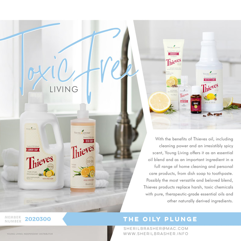 Toxin-free living with Young Living's Thieves Product Line! Check out some fo the things you can replace in your home with Young Living over at sherilbrasher.info/theoilyplungeblog.html