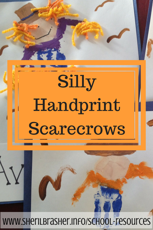 We've been extremely busy getting ready and these Silly Scarecrows were too hard to pass up. Plus who doesn't love handprint crafts. Parents eat that stuff up, am I right??  They are super cute though so I can't complain! Head over to www.sherilbrasher.info/school-resources for a tutorial.
