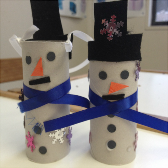 Preschool Craft {Winter}:  Cardboard Tube Snowmen. These cute snowmen are a great and simple craft for preschoolers to make. You can use these as decoration on the mantle or add some ribbon & hang on the Christmas tree. Head over to sherilbrasher.info/school-resources to find out how we made them.
