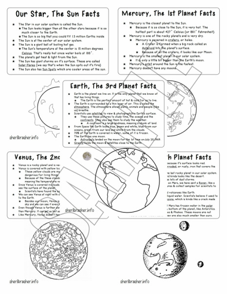 Preschool Printables: The Solar System Inner Planets PreK Pack