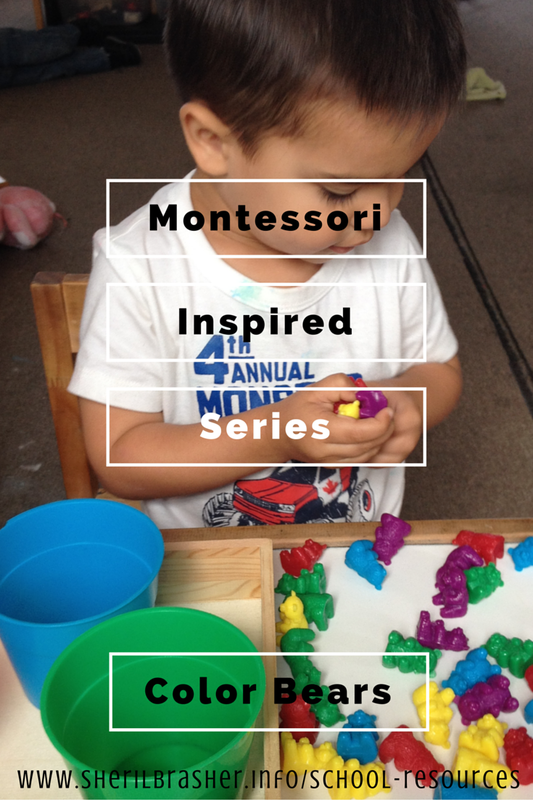 Montessori-Inspired Series: The Color Bears, an idea for color matching, classification, one to one correspondence, and hand-eye coordination. Head over to sherilbrasher.info/school-resources to see more Montessori-Inspired activities.