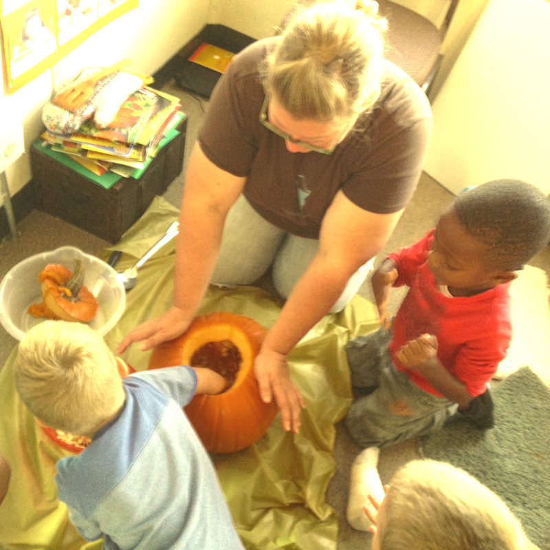 Pumpkin Carving with the preschool students.