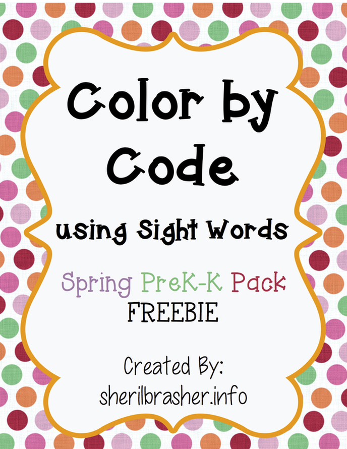 Who wants a Spring FREEBIE? Head over to sherilbrasher.info/school-resources to grab this super cute Color by Code using Sight Words picture of a bunny.