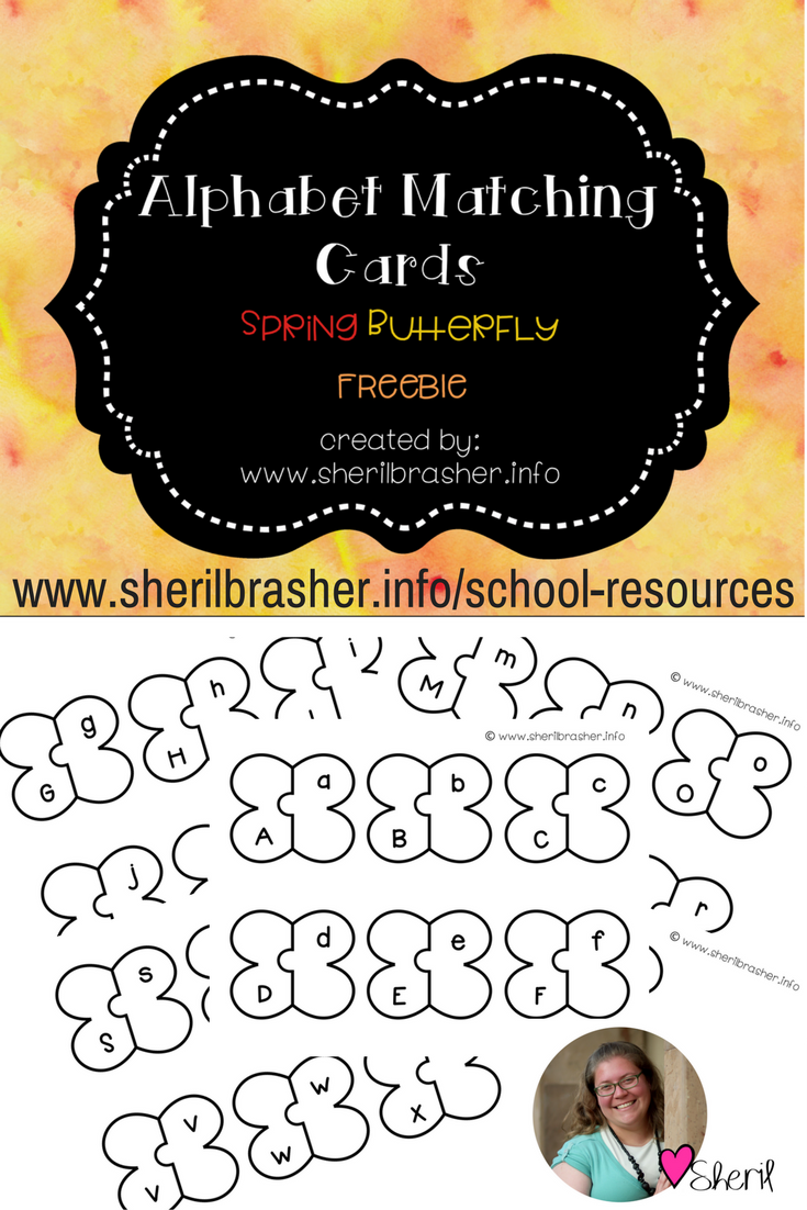 Today is Friday and you know what that means? It's Freebie Friday! Up for today we have some really cool butterfly alphabet matching cards. One of the early stages of learning to read is letter recognition. Grab this FREEBIE over at sherilbrasher.info/school-resoureces