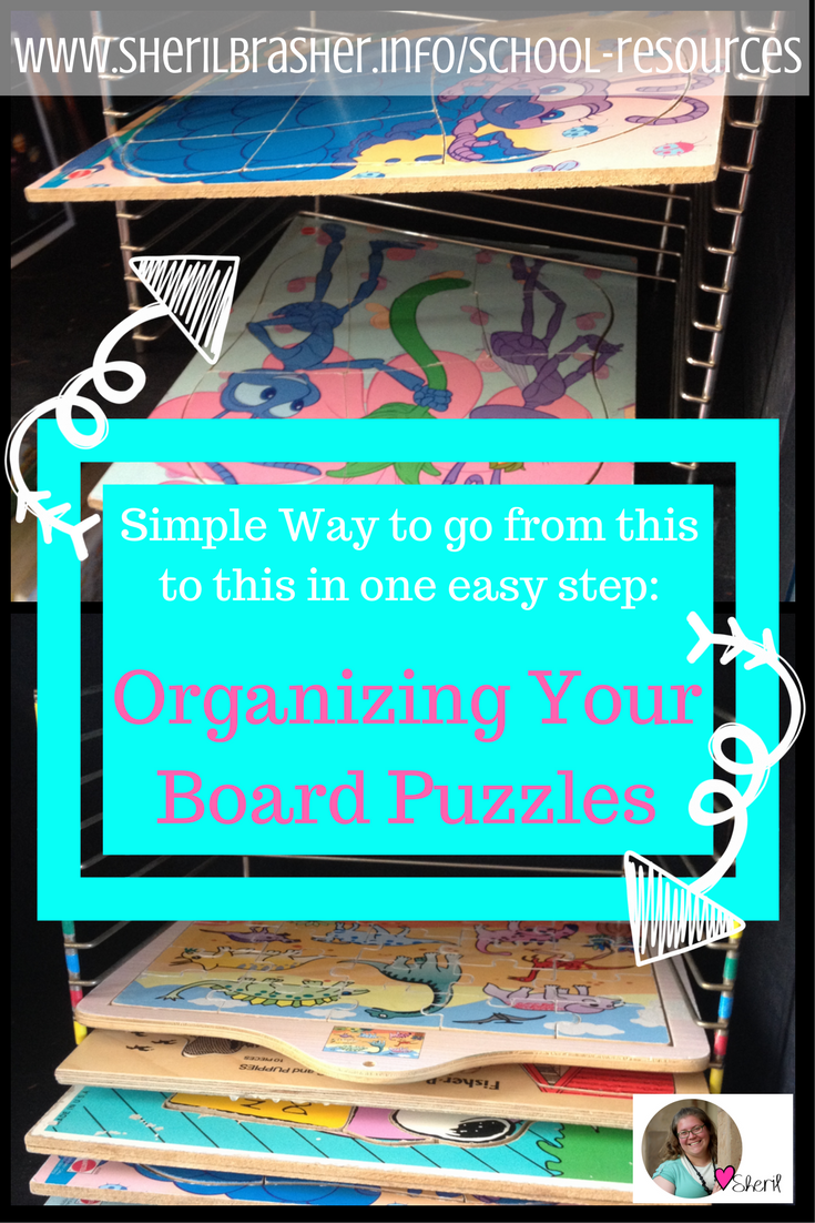 I recently had an AHA moment in regards to organizing our board puzzles in our classroom after 7 YEARS for frustration. It's super simple and I can't believe it took me this long! Find out the simple trick at sherilbrasher.info/school-resources