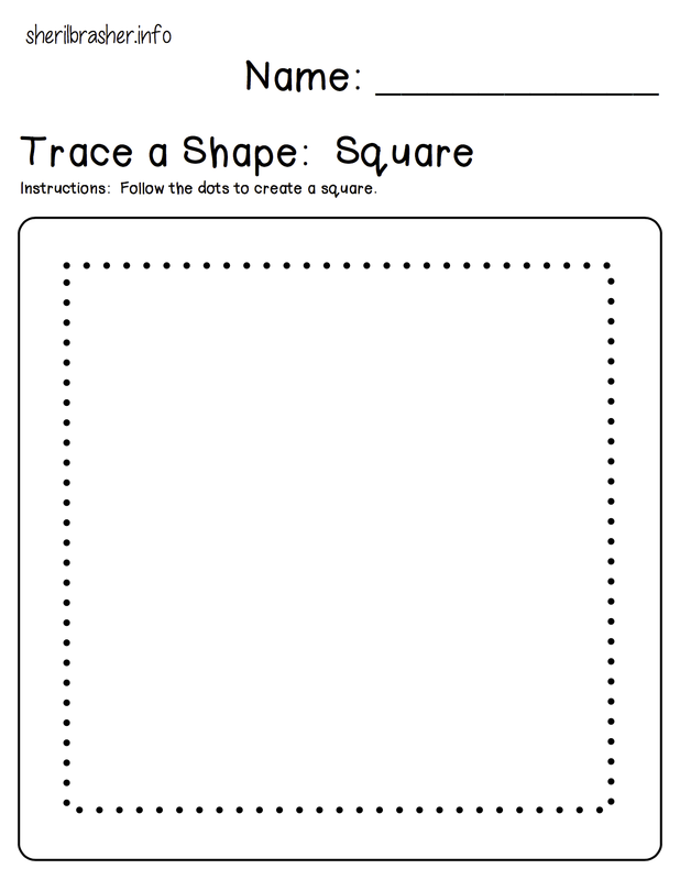 Preschool Printables: Trace a Shape. A perfect worksheet for your younger preschoolers just starting to write. It is also good for shape recognition.